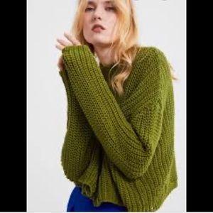 Zara green ripped knit sweater sz Med nEW!
